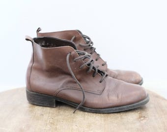 Vintage Leather Lace Up Oxford Ankle Boots - size 10 M