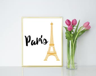 Paris. Eiffel Tower. Gold. Wall Print.