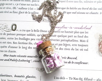 Necklace big purple berlingots candy jar