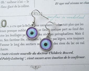 turquoise and purple eyes eye Cabochon earrings