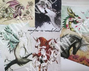 Set of 6 postcards (CAT, dragon, Wolf, Unicorn)