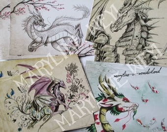 """Set of 4 postcards """"the book of Dragons"""""""