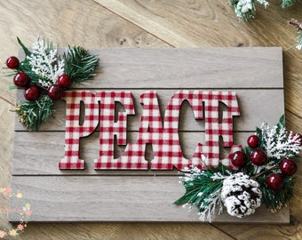 Peace Faux Pallet Board Sign, Christmas Wall Decor, Holiday Wall Decor, Christmas  Wall