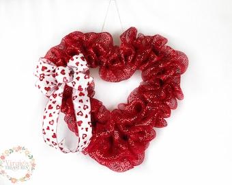 Heart Deco Mesh Wreath, Red Metallic Heart Wreath, Deco Mesh Valentine's Day Wreath, Valentine's Day Wreath
