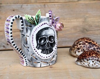skull and butterfly ceramic mug artistic MADE TO ORDER