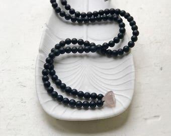 Mens black bead necklace, Black onyx pendant necklace for men, Black mala beads, Lotus pendant, Grey smoky quartz, 108 beads