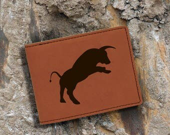 Engraved Bifold Wallet-Personalized Hunting-Full Size Art Work-Rawhide-Bull
