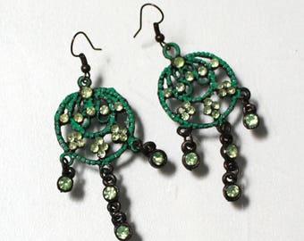 Green enamel and bronze chandelier earrings | Sale