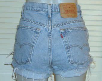 Vintage Levis High Waisted Festival Blue Jean Shorts~14~