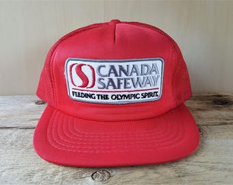 CANADA SAFEWAY Feeding The Olympic Spirit Vintage 80s Red Mesh Trucker Snapback Hat Grocery Store Promo 1988 Calgary Winter Olympic Cap
