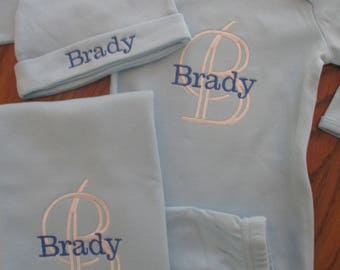Monogramed baby boy gown, Monogramed baby gown, Blue personalized Baby Set