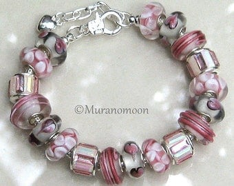 Pink European Charm Bracelet Pink Beaded Bracelet Large Big Hole Aurora Borealis Crystal Charm Beads Unique Bling Gift For Her #EB1584