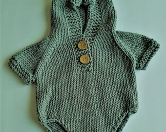 READY To Ship, Crochet Baby Costume, Crochet Romper Jumpsuit, Newborn Photo Prop, Boy Romper,Coming Home Outfit,Baby Photo Prop,Gray Romper