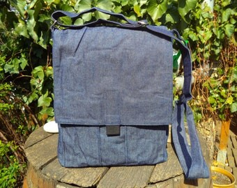 Blue jeans messenger bag