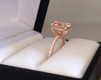 Morganite Enagagememt Ring Cushion Cut 10mm Morganite Center 18k Rose Gold .20ct Natural Diamond  Ring Pristine Custom Rings