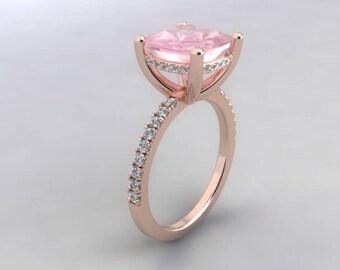 Morganite Engagement Ring 9mm Cushion Cut Ring .24ct Pave Natural Diamonds Hidden Halo Ring Rose Gold Ring Pristine Custom Rings