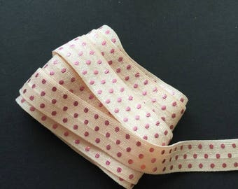 SHOP CLOSING WHOLESALE 10 yards Pale Peach with Pink Metallic Dots Fold Over Elastic, FoE, wholesale, headbands, hair ties, prints,