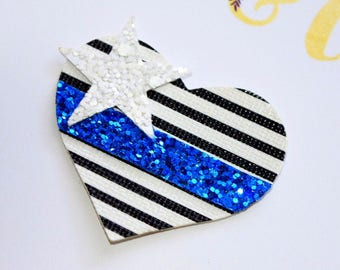 Police Support Glitter Heart Snap Clip // Black and White Stripes // Blue Line // Blue Stripe // Snap Clip OR Nylon Headband