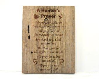 Hunter's Prayer Barnwood Sign