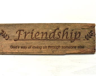 Friendship Barnwood Sign