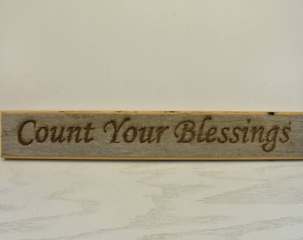 Count Your Blessings Barnwood Door Topper