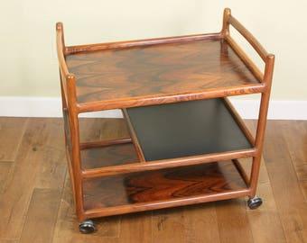 Rare Brazilian Rosewood Cart Johannes Andersen For CFC Silkeborg Denmark  Mid Century Rosewood Bar Cart