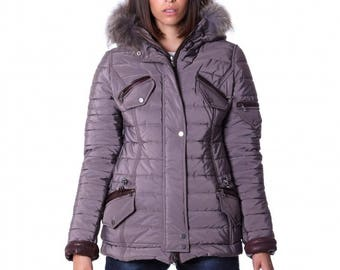 Down jacket with genuine leather applications, hood with murmasky fur, grey color.