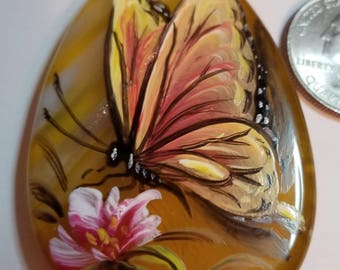 Hand Painted Butterfly on Agate