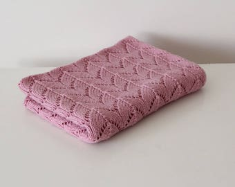 Knit baby blanket / baby blanket / hand knitted baby blanket / merino wool baby blanket