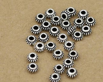 20% OFF SALE Five (5) THAI .925 Sterling Silver 5mm Donut Spacer Beads #220