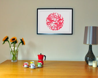 Red bamboo silkscreen print, red art print, A2 silk screen print, wall decor, red wall art, nature screen print, house warming gift