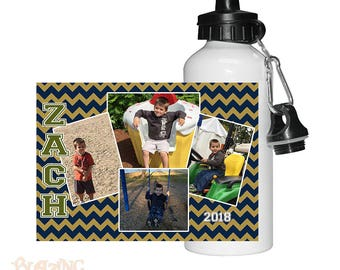 Personalized Custom Chevron Photo Water Bottle