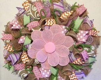 Sale Spring wreath, spring wreaths, burlap spring wreath, wreath, mesh spring wreath, spring door decor, spring decoration, summer wreath, w