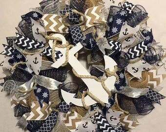 Sale SALE summer wreath, nautical wreath, beach wreath, anchor wreath, burlap nautical wreath, nautical burlap wreath, wreath, wreaths, beac