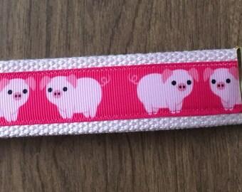 Pig Key Chain Wristlet Zipper Pull