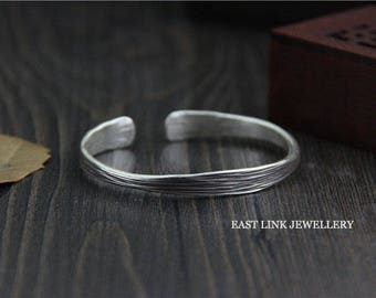 999 silver stripe bangle cuff womens birthday gift