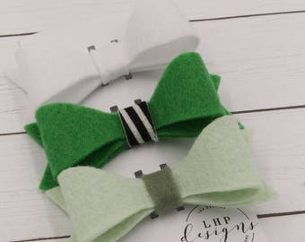 Felt Hair Bow Trio- St. Patrick's Day!
