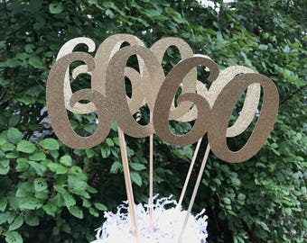 60th Birthday Centerpiece Sticks,  Glitter 60th Birthday Decoration, 60th Birthday Table Decorations, Age Cutouts