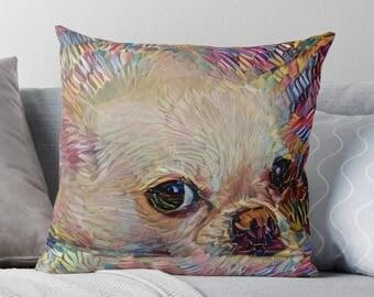 Chihuahua Pillow, Chihuahua Decor, Chihuahua Gift, Dog Throw Pillows, Dog Decor, Dog Lover Gift, Colorful Cushion, Dog Cushion