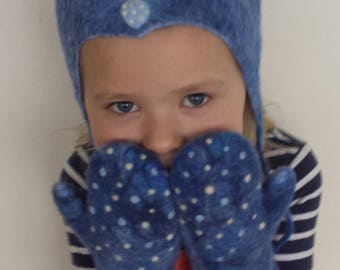 Felted wool kids hat and mittens set