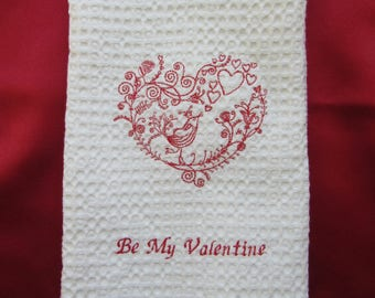 EMBROIDERED VALENTINE Towel.Valentine Towel.Romantic Towel.Valentine Day.Valentine Gift.Be My Valentine Towel.