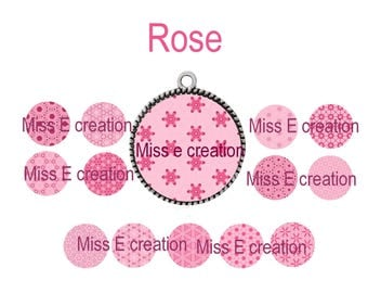 Rose Planche digital images for cabochon 25mm and 20mm and 18mm