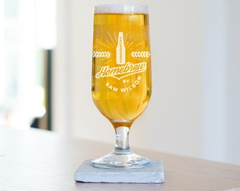 Personalized Homebrew Beer Glass, Made to order glass for him, Home Brew Beer Glass (ALL26 - LR)