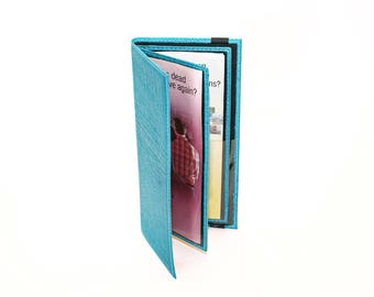 Turquoise Tract Holder for Jehovah's Witnesses - Leather Service Items