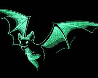 Glow in the dark bat patch, iron on bat patch, Halloween bat patch, iron on Patch, halloween costume, halloween decor, patches for jackets