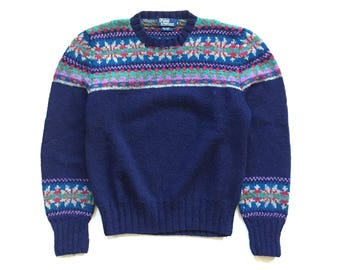 90s Colour block Polo Ralph Lauren multi colour knit sweater unisex Mens xl Large vintage 100% WOOL pullover blue christmas sweater
