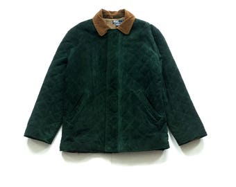 Vintage Polo Ralph Lauren jacket size Medium rich forest green quilted suede wool interior & corduroy collar