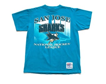 90s THE GAME San Jose Sharks nhl hockey t shirt vintage teal tee size large single stitch