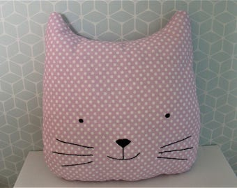 "25 cm pillow "" head of cat(chat) "" in a white polka-dot pink cotton and a hand-made embroidery"