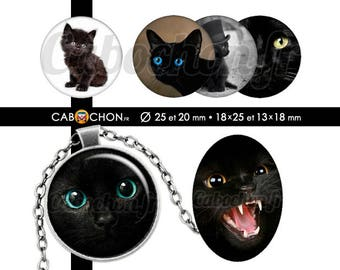 Chats Noirs  • 60 Images Digitales RONDES 25 20 mm OVALES 18x25 13x18 mm chat animal noir yeux pupilles mignon cute felin chapeau silhouette